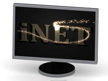 INET Inscription on monitor from metal letters Royalty Free Stock Image