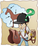 Inexperienced horse-rider. Funny cartoon illustration - An inexperienced horse-rider doesn't know how to prepare his horse for riding Stock Photo