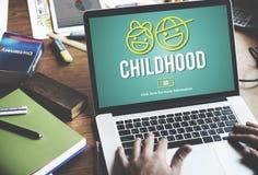 A infância das crianças caçoa o conceito do Web site da prole Fotos de Stock