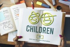 A infância das crianças caçoa o conceito do Web site da prole Foto de Stock Royalty Free