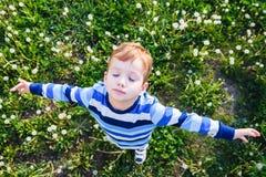 Infância do menino da grama do campo da criança cute imagem de stock royalty free