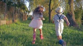 Infância feliz, rapaz pequeno traseiro da vista e menina correndo junto no campo filme