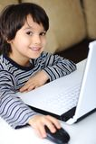 Infância, portátil, aprendendo Fotos de Stock Royalty Free