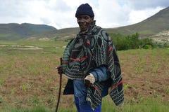 Infödd Basothoman från den Butha-Buthe regionen av lesothiskt Arkivfoto