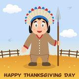 Infödd man för tacksägelsedag med spjutet Arkivbilder