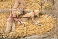 Infödd stöpningskonst på väggen Arkivfoton
