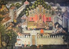 Infödd thailändsk väggmålning Royaltyfria Bilder