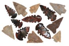 infödda amerikanska arrowheads Arkivbilder