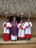 Infödda catholicsinamazonas i Brasilien inverkan av armod på fattiga neighbourhoods i Belize orsaka kocken för jordbruks- utveckl Arkivbilder