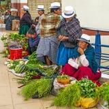 Infödda kvinnor som säljer grönsaker i Cuenca, Ecuador royaltyfria bilder