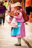 Infödda traditionella försäljare på san miguel Royaltyfri Fotografi
