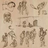 Infödingar - hand drog vektorer royaltyfri illustrationer