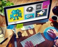 Införa nyheter begreppet för teknologi för kreativitetidéer det nya moderna Royaltyfri Bild