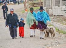 Infött ecuadorianskt folk i en marknad Fotografering för Bildbyråer