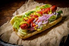 Infall grillad Hotdog arkivfoton