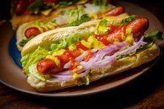 Infall grillade Hotdogs Royaltyfria Foton