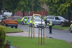 Infallande bilkrasch för polisen, RTC royaltyfria bilder