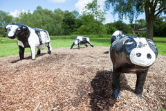 Infamous concrete cows in Milton Keynes. The Concrete Cows are Milton Keynes most famous inhabitants and have become unofficial mascots of the new town since stock photo