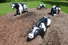 Infamous concrete cows in Milton Keynes. The Concrete Cows are Milton Keynes most famous inhabitants and have become unofficial mascots of the new town since Royalty Free Stock Photos