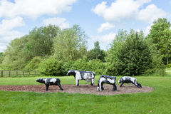 Infamous concrete cows in Milton Keynes. The Concrete Cows are Milton Keynes most famous inhabitants and have become unofficial mascots of the new town since Stock Images