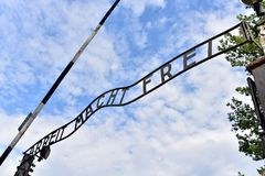 Auschwitz Concentration Camp. The infamous entrance sign at Auschwitz , Arbeit Macht Frei - Work sets you free Royalty Free Stock Images