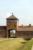 Infamous iconic train entry gate building Birkenau German Nazi C Stock Image