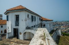 Infamous medieval defence structure Fort Coenraadsburg overlooking Elmina Castle, Gold Coast, Elmina, Ghana stock photography