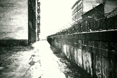 The Infamous Now-Gone Cold War Berlin Communist `Wall of Shame` a.k.a. `The Iron Curtain` * November, 1966 Stock Photos