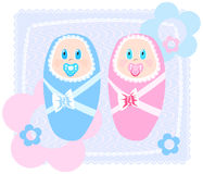 Infant. Vector illustration of new-born babies in swaddling clothes Royalty Free Stock Images