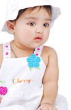 Infant 6-8 month. Baby girl wearing white cap Royalty Free Stock Photo
