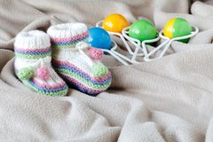 Infant anouncement concept with newborn shoes Stock Image