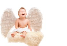 Infant baby with angel wings Stock Photography
