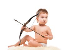 Infant baby with bow Royalty Free Stock Image