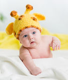 Funny infant baby boy. Infant baby boy with funny hat Stock Image