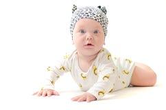 Infant baby boy in pijamas amazed isolated on white Royalty Free Stock Photo