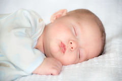 Infant baby boy sleeping. Peacefully Royalty Free Stock Photo