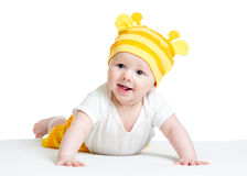 Infant baby boy weared funny hat Stock Photography