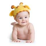 Infant baby boy weared giraffe hat. Child baby boy weared giraffe hat, isolated on white royalty free stock photography