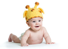 Infant baby boy weared giraffe hat. Isolated on white stock photography