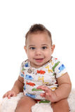 Infant baby boy on a white background Royalty Free Stock Photography