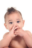 Infant baby boy on a white background Stock Photo