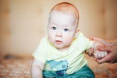 Infant Baby Child Boy Six Months Old. Little Baby Child Boy Six Months Old royalty free stock photo