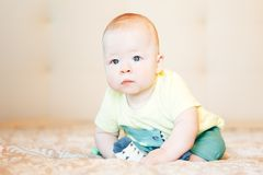 Infant Baby Child Boy Six Months Old. Little Baby Child Boy Six Months Old stock photo