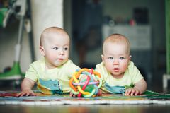 Free Infant Baby Child Twins Brothers Six Months Old Is Playing On The Floor Stock Photos - 100484543