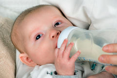 Infant baby feeding. From bottle Stock Photography