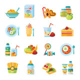 Infant Baby Food Flat Icons Set. Infant and baby food flat icons collection with milk formula and vegetable puree abstract vector illustration royalty free illustration