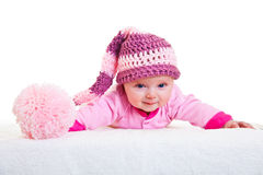 Infant baby girl laying isolated on Stock Photo