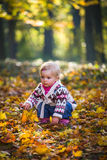 Infant baby girl in park Royalty Free Stock Images
