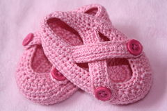 Infant Baby Girl Pink shoes Stock Images