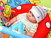 Infant in baby gym Royalty Free Stock Photo